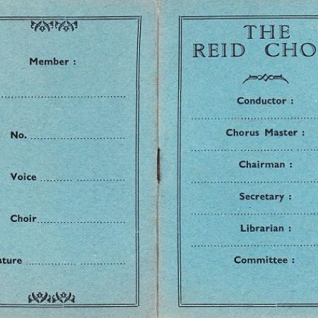 Reid Choir 1936 membership card
